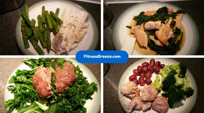 meals to include haddock and asparagus, mince and kale, turkey, grapes and broccoli, and chicken and spinach