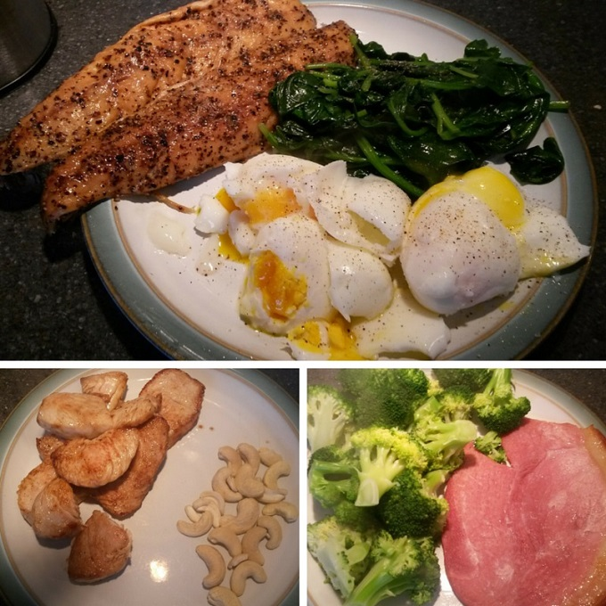turkey and cashew nuts, mackerel, eggs and spinach, and gamon and broccoli