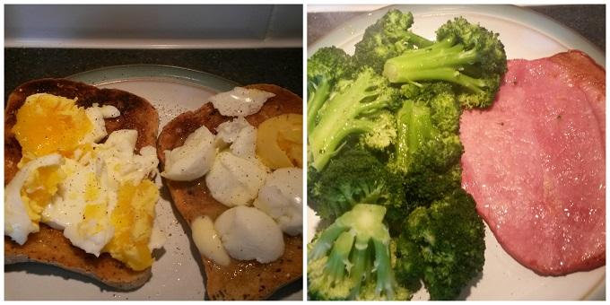 boiled eggs on toast and gamon and brocoli