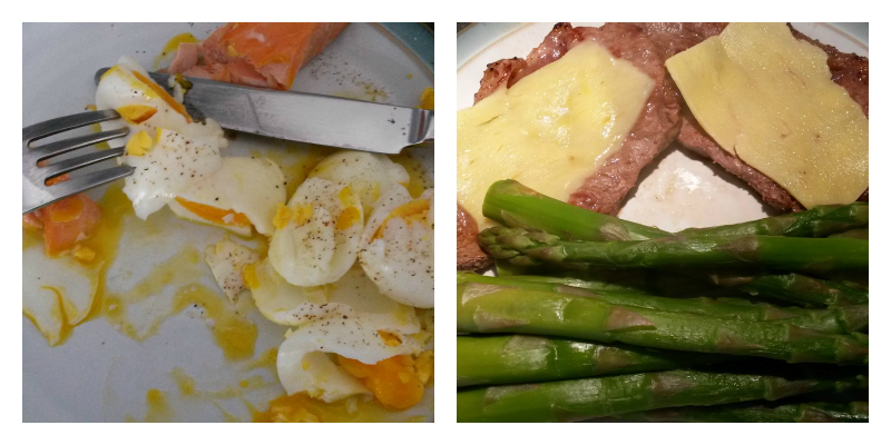 photo of salmon and egg and sirloin steak with cheese and asparagus