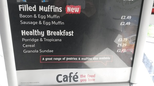 picture of Tesco cafe menu